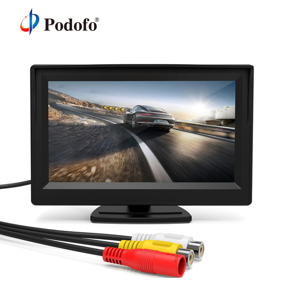 Podofo 5'' Monitor TFT LCD Color Screen 2 Video Inputs 2 Brackets For Rear View Backup Reverse Camera DVD Mini Car LCD Monitor