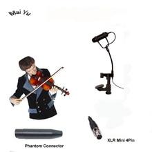 Micro violon Instrument Lapela professionnel mandoline Viola Microfone pour Shure transmetteur sans fil XLR Mini 4Pin Phantom