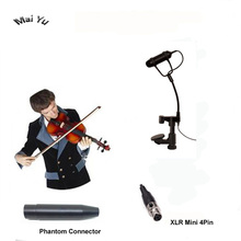 Profissional instrumento de violino lapela microfone mandolin viola microfone para shure transmissor sem fio xlr mini 4pin fantasma