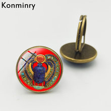 Konminry Antique Egyptian Scarab Beetle Glass Cabochon Rings Silver Bronze Black Color Handmade Women Men Jewelry(China)