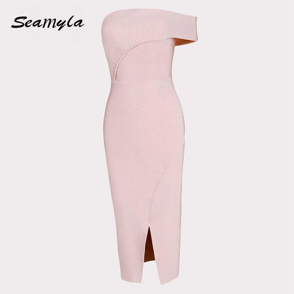 Seamyla 2017 New Strapless Bandage Dresses Women Knee Length Sexy Split Night Out Evening Party Dresses Ladies Bodycon Vestidos