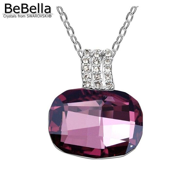 BeBella большой серый Хрустальный каменный кулон ожерелье сделано с австрийскими кристаллами от Swarovski для женщин подарок - Окраска металла: Light Amethyst