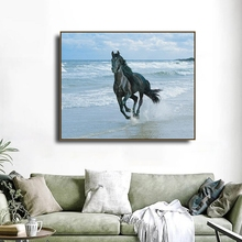 Pentium Horse at Seaside Animals Canvas Painting Calligraphy Posters Prints For Living Room Bedroom Wall Pictures Home Art Decor