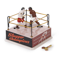 Classic Boxing Ring Boxers Tin Toy Collectible Gift W Wind Up Key Simulate Boxing Match For