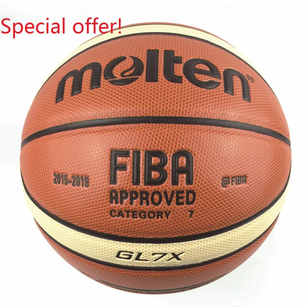 Prix pour Nouvelle Saison 2015-2019 D'origine Officiel Fondu de Basket-Ball Balle GL7X Balle NOUVELLE Arrivée Fondu PU Taille 7 Cadeaux de Basket-Ball Net Aiguille