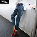 Boyfriend Jeans For Women 2016 Summer Basic Styles Vintage Distressed Regular Ripped Stretch Harem Denim Pants Woman Jeans F0