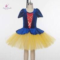 Royal Blue Vevelt Top Bodice Yellow Tulle Ballt Tutu Short Sleeve Ballet Costume Girl Ballet Tutu