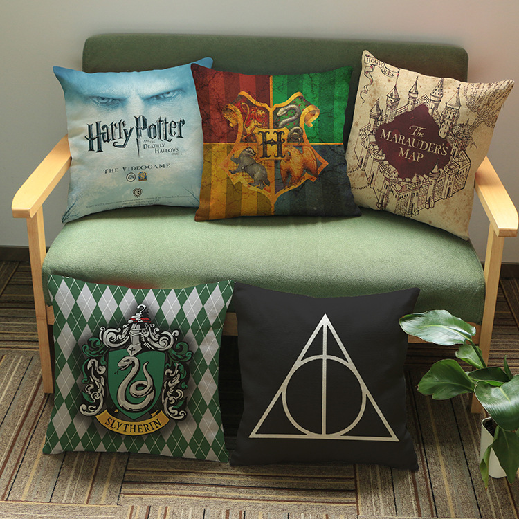 Potter Cushion Cover Geometric Sign Movie Poster American Style Linen Pillow Cases Sofa Bedroom Decoration