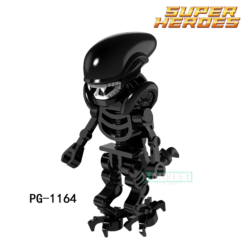 Educational Building Blocks Super Heroes Skeleton Skull Alien One-Eyed Cyclops Omino Snake Undead Block For Children Toys PG1164 building blocks super heroes back to the future doc brown and marty mcfly with skateboard wolverine toys for children gift kf197