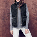 Womens cotton Padded vest winter waistcoat zipper front black armygreen sleeveless coat Fashion Jacket for women
