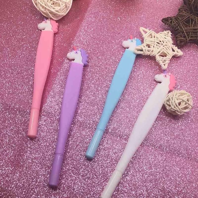 Мм 0,5 мм креативный Kawaii Шариковая ручка плоская ручка Единорог Шариковая Ручка Вентилятор гелевые ручки для письма офисные школьные принад...