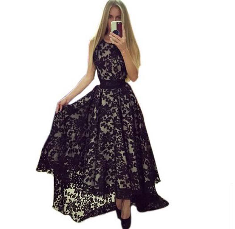 Кружевное летнее платье черный и белый 2018 сексуальное платье Для женщин рукавов Пром Ball Платья для вечеринок длинное кружевное платье Q0081B