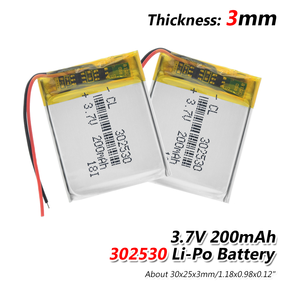 1/2/4x Rechargeable 3.7V Volt 302530 200mAh Li-ion Lithium Polymer Battery PCM Protected Charging Lipo Lipolymer Batteries