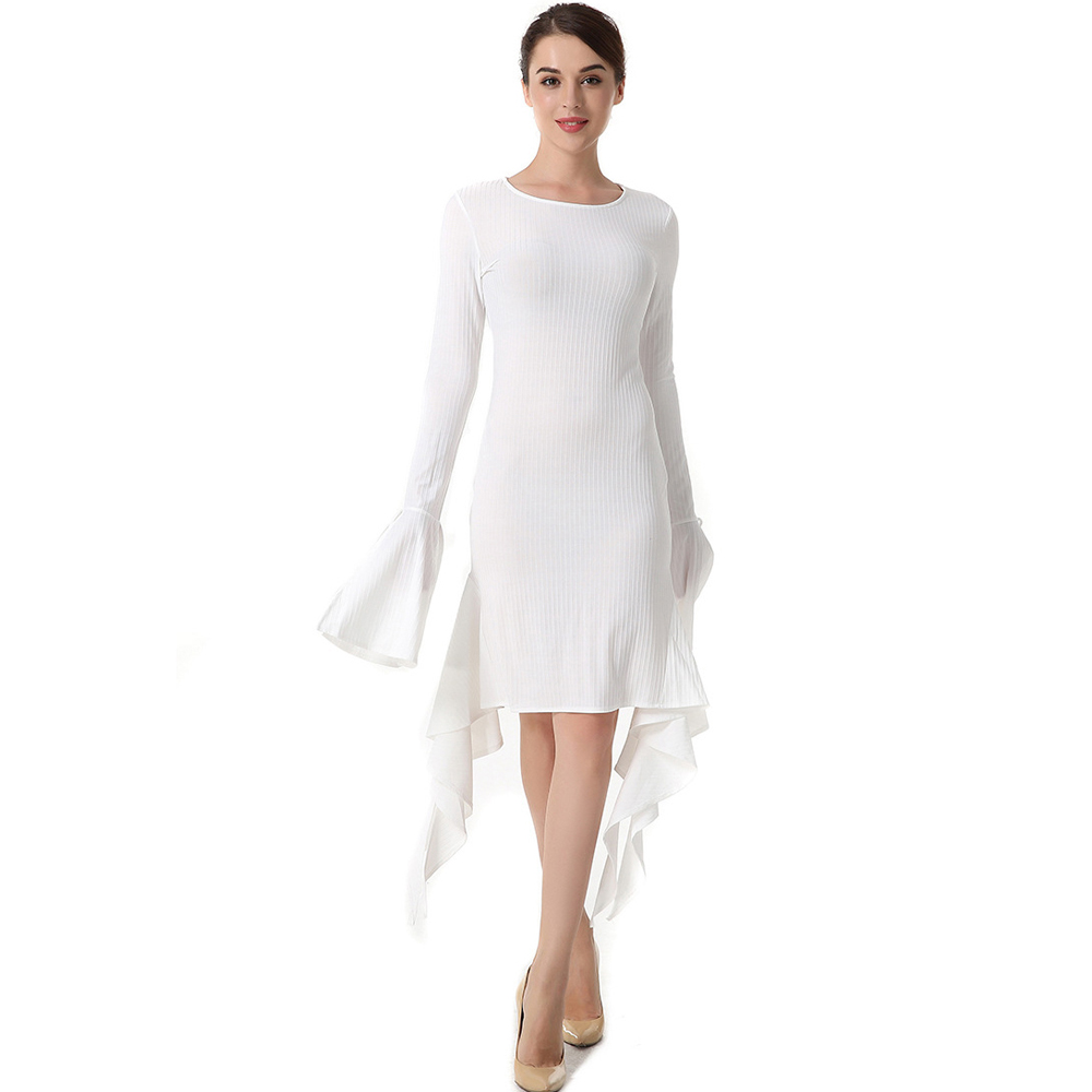 New Fashion Spring Summer Bottoming Dress Women Long Sleeve Flounced Draped Blue White Gothic Dress Lady Formal Short Dress in Dresses from Women 39 s Clothing