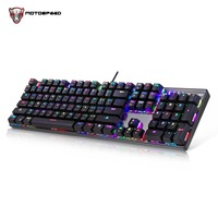 MOTOSPEED CK104 Russian Silver Professional Wired Gaming Metal Mechanical Keyboard Blue/Red Switch RGB LED Backlit keyboard