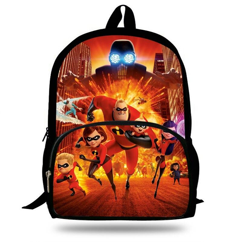 300ba10202 16inch Cut Superman Cartoon Bookbags Girls School bags The incredibles  Backpack Boys Trave Bag Gift Children