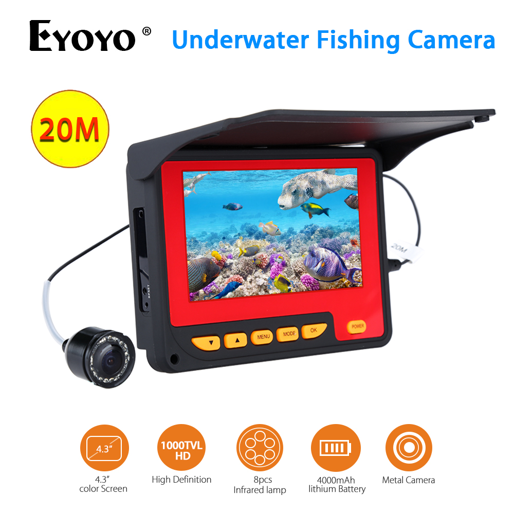 EYOYO F05 4.3inch 20M Infrared IR Underwater Ocean River Lake Boat Ice Fishing Camera Waterproof Fishfinder Cam Fixed on the Rod girl on the boat