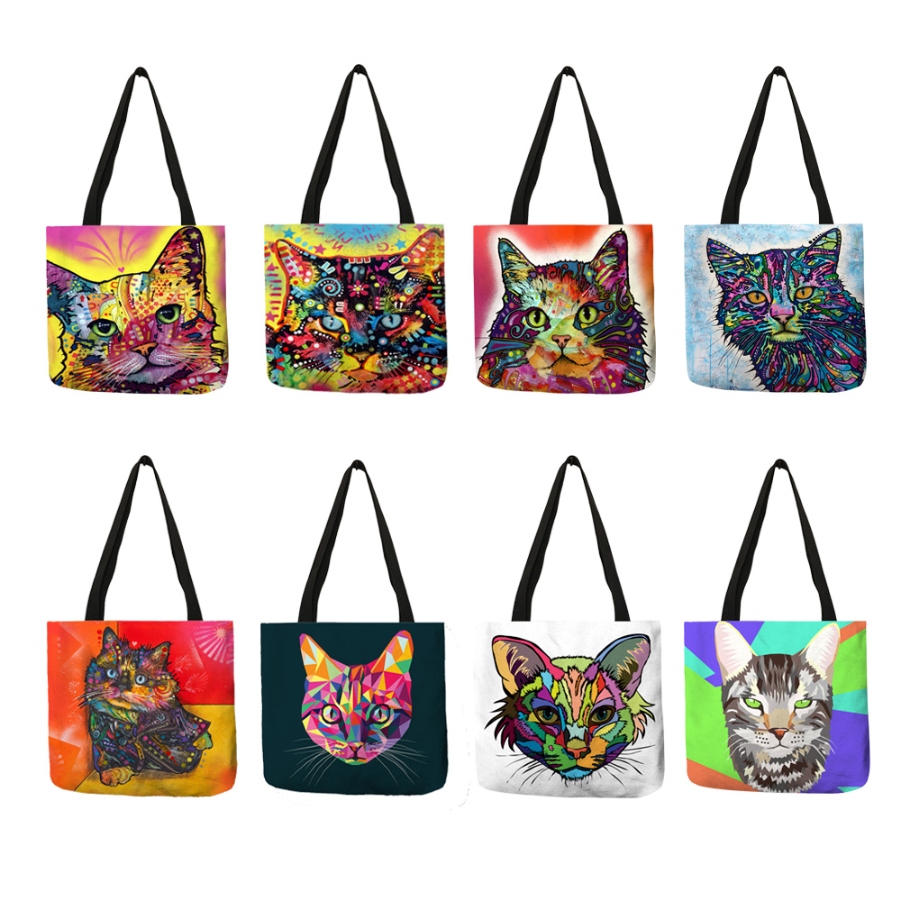 Colorful Cat Oil Painting Tote Bag With Customized Print Women Fashion Linen Handbags Reusable Shopping Bags Traveling School