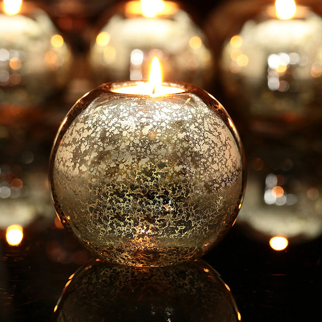 New Item Sale!! Mercury Glass Ball Candle holder Table Holders Candlestick Wedding Party  Festival Event Decoration centrepiece