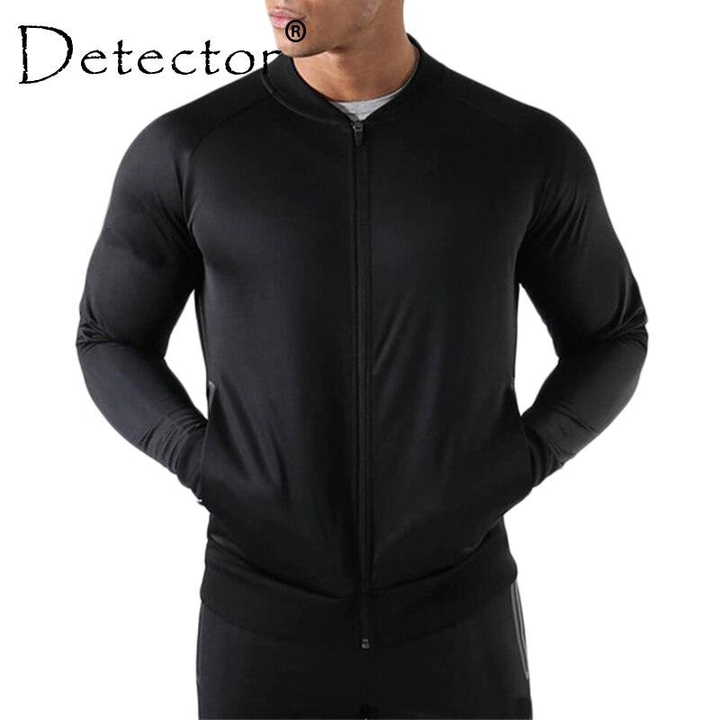 Detector Mens Running Jackets Fitness Breathable Sweatshirt Zipper Slim Fit Pullover Gym Sportswear slim fit zipper front mens jacket
