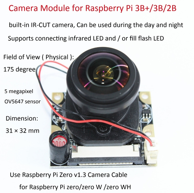 Raspberry Pi 3 B 5MP Camera module IR CUT 175 Degree Focal Adjustable Length Night Vision NoIR Camera module for Raspberry Pi 3