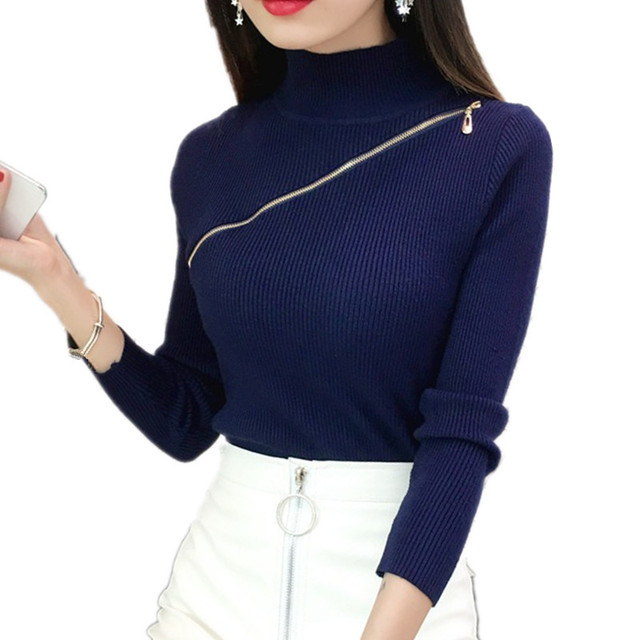 2018 Sexy Zipper basic navy blue sweater for women Turtleneck Knit Jumper  Autumn Slim Bottom Lady s Sweater Pink Female Pullover a32242a69
