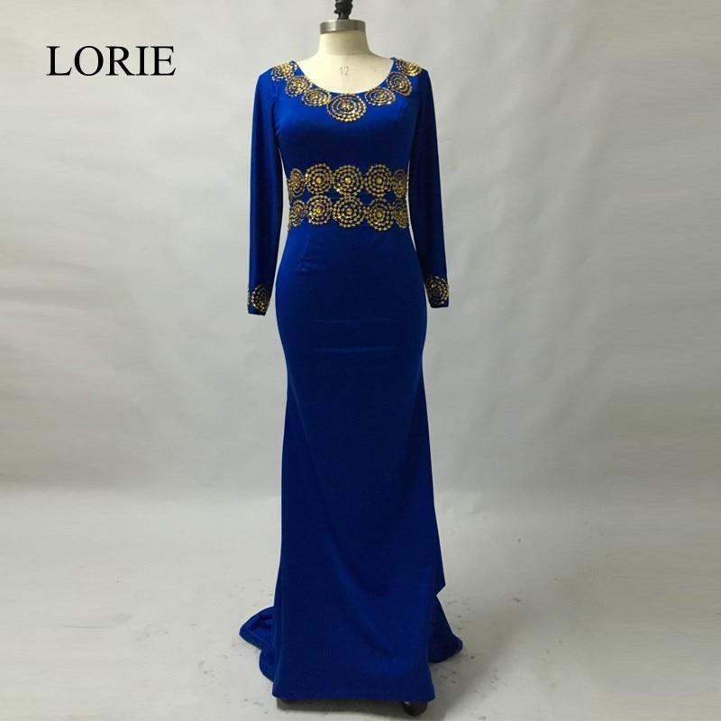 Kaftan Dubai Royal Blue Long Sleeve   Evening     Dresses   2018 Gold Beading Muslim Women Mermaid Long Prom   Dresses   Formal Party Gowns