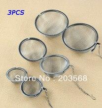 3pcs/lot Stainless Steel Sphere Locking Spice Tea Ball Strainer Mesh Infuser Filter Size 5CM/7CM/9CM