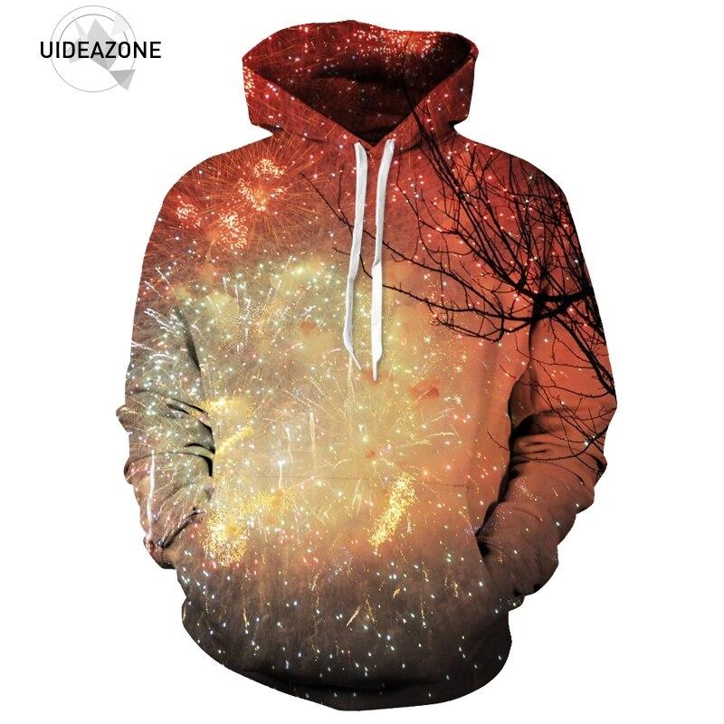 UIDEAZONE New 3D Fireworks Starry Night Printed Sweatshirts Women Men Hoody Tops Nice Tree Hooded Fitness