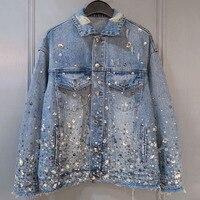 Джинсовая куртка для женщин Весна Элегантный 2019 с длинным рукавом мода куртка в стиле бриллианта пальто новые джинсы