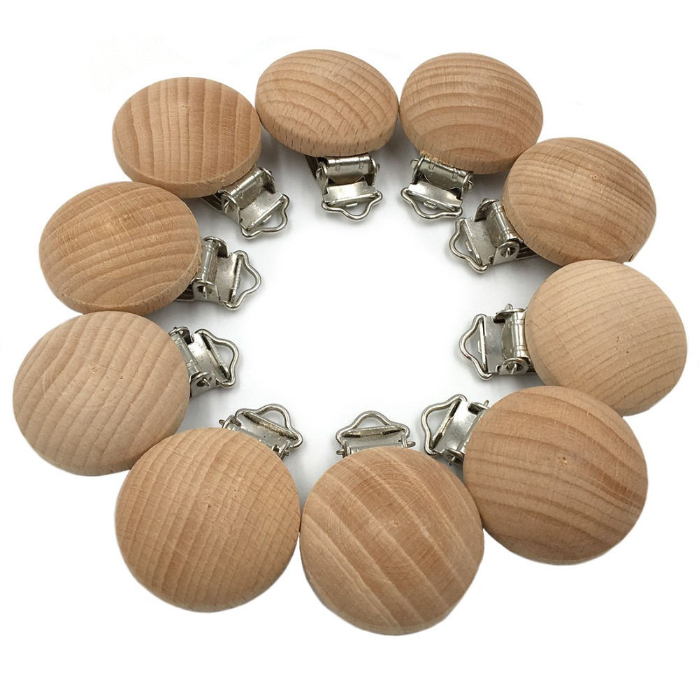 1Pcs 3.5cm Dummy Clip Natural Wood Beech Wood Pacifier Clip Unfinished Non-Toxic Nipple Holder DIY Pacifier Clips Chain