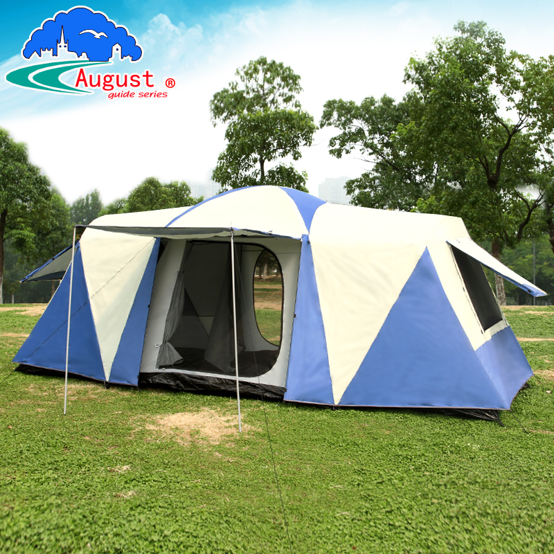 Ultralarge 8-12 person double layer one hall two bedroom waterproof windproof family party camping tent in one person