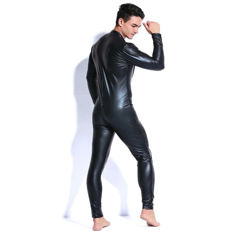 407c4042b9fe ... 2018 Men Faux Leather Zipper Crotch Latex Catsuit Jumpsuit Sexy Lingerie  Erotic Costumes Spandex Catsuit Bodysuit ...