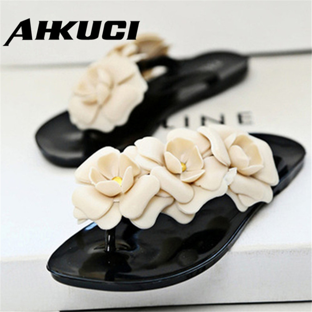 Camellia Slippers Women Summer Sandals Slippers Jelly 3D Stereo Camellia Flower Design Flip Flops