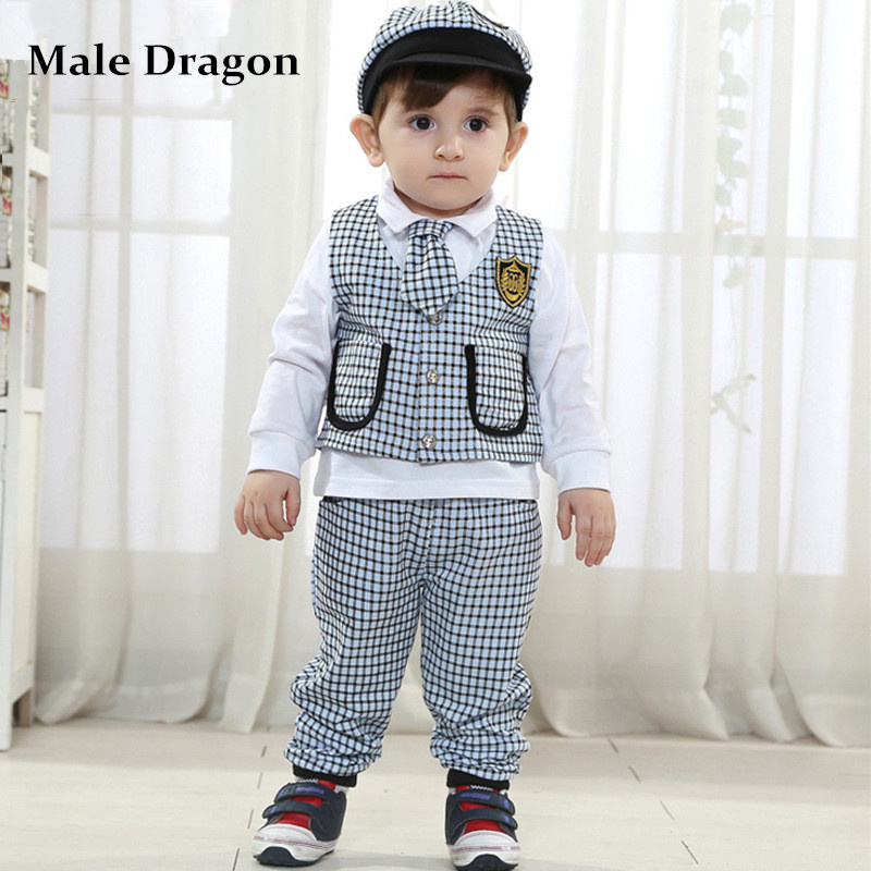 Gentleman Baby Boy Clothes Birthday Dress Whole Kids Clothing Set 3pcs Boys Plaid Suit For Weddings Child Long Sleeve Sets In From Mother