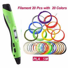 SL-300A 3D pen print Intelligent 100M 20pcs PLA Low temperature 3D Pens filaments DIY Painting toys drawing gift