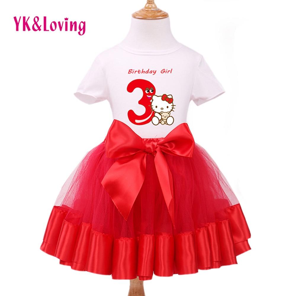Gadis Pakaian Set Anak Lengan Pendek Katun T-Shirt + Gaun Sifon Pakaian Pesta Ulang Tahun anak-anak Putri Gaun Kostum