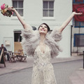 Luxo Cinza Inverno Casacos de Peles Tingidas Da Pena Da Avestruz Casamento Boleros 2016 Mulheres Jaquetas de Noiva Xales Acessórios WrapsWedding B162