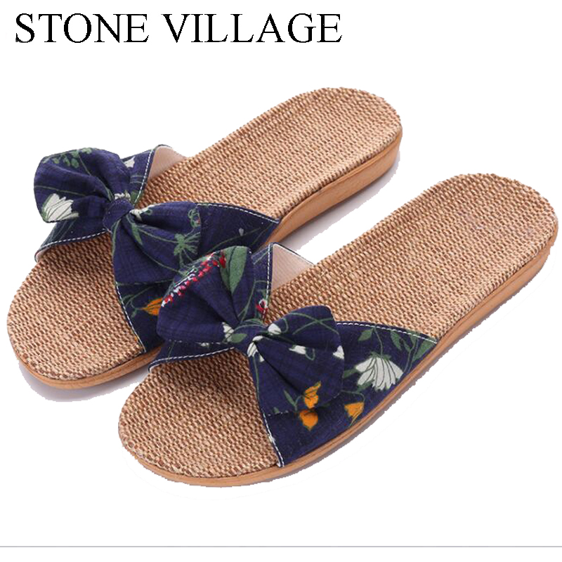 STONE VILLAGE 2018 Summer Home Slippers Shoes New Linen Slippers Non-Slip Butterfly-Knot Cool Slippers Women Indoor Flip Flops millffy 2018 new summer sweet ladies shoes pink girl home slippers cotton indoor slip on knot stripe slippers