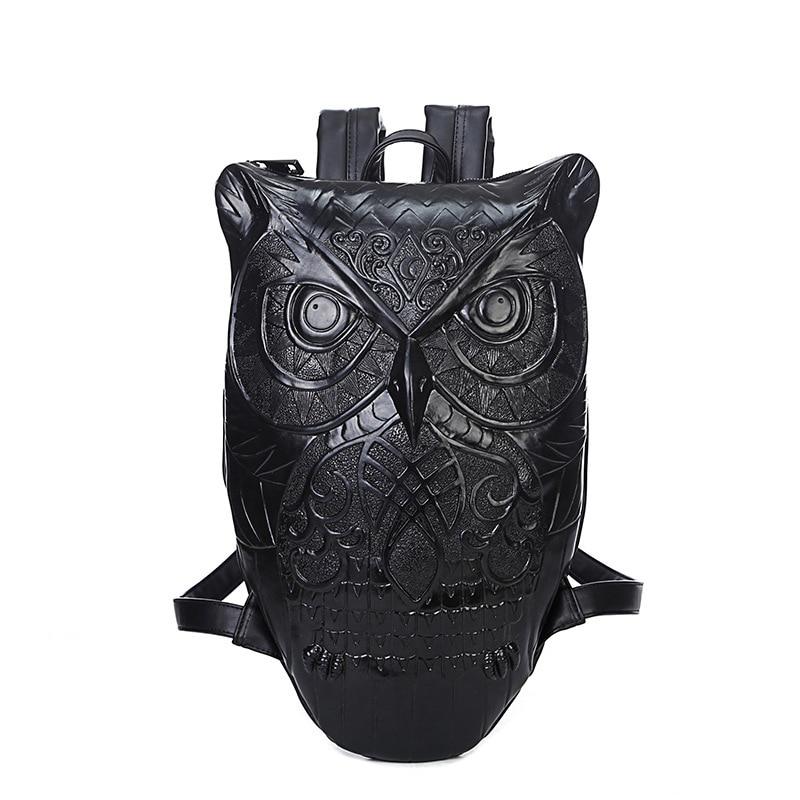 2017 Women hop trend Backpack Cool Black PU Leather 3D Emboss Owl Backpack Female Hot Sale