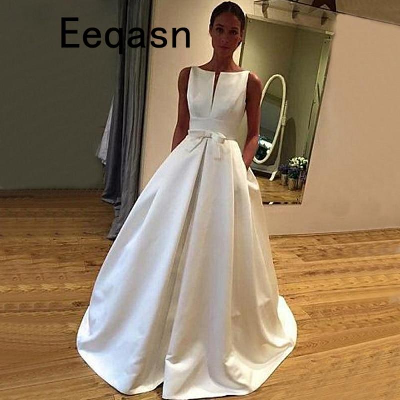 Simple White Satin Wedding Dress A Line Sleeveless White