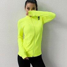 Женская Спортивная тонкая бесшовная куртка для бега спортивная куртка с длинными рукавами для фитнеса быстросохнущая эластичная спортивная куртка на молнии