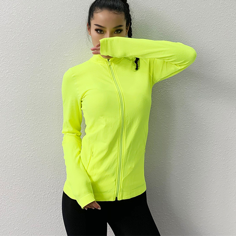 Women's Sports Slim Seamless Running Jacket Gym Long sleeves Fitness Workout Quick Dry Elastic Zippered Outdoor Sports Jacket
