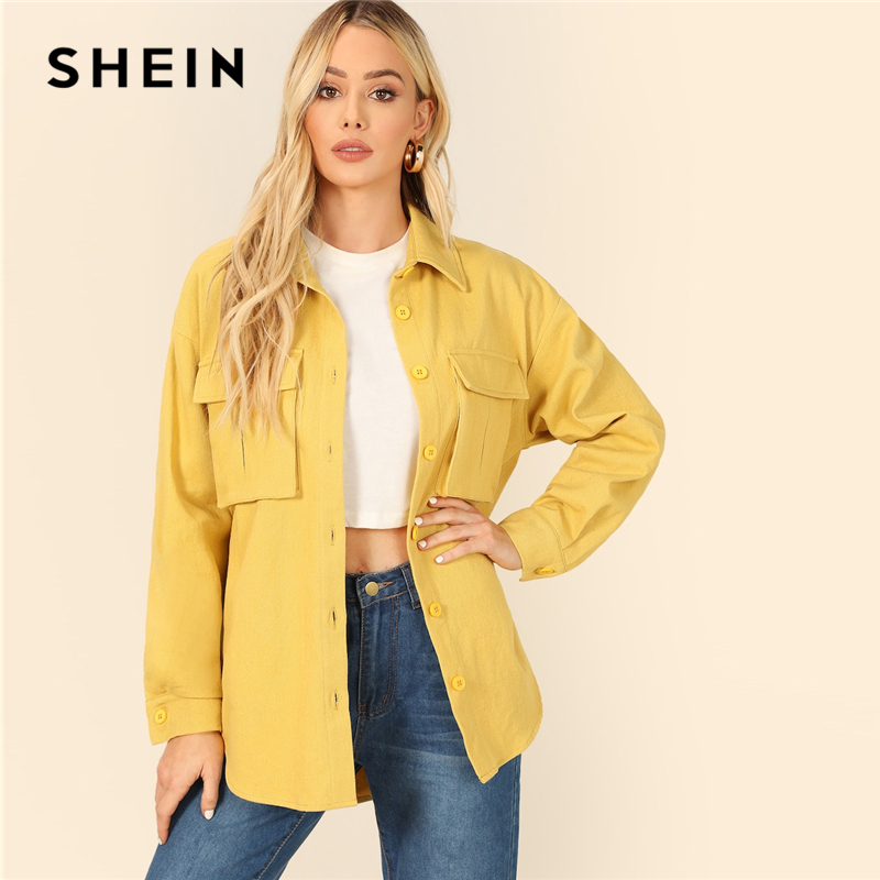 SHEIN Yellow Dual Flap Pocket Front Shirt Plain Jacket Autumn 2019 Casual Regular Single Breasted Women Coat Outerwear 4