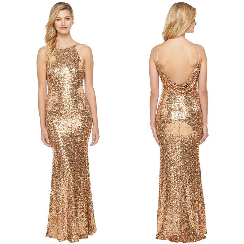 Holievery Gold Sequined Mermaid Bridesmaid Dress 2020 Floor Length Party Dress Backless Women Maxi Gowns Brautjungfernkleid
