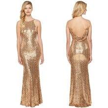 Holievery Gold Sequined Mermaid Bridesmaid Dress 2019 Floor