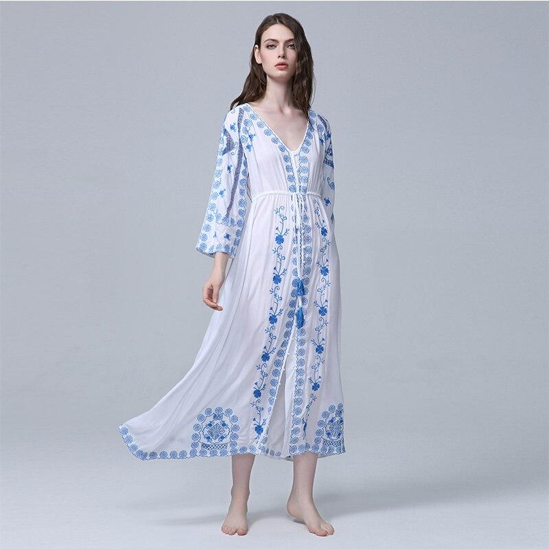 Vintage Longue Soirée Sexy Marque Robe Robes Floral De Vêtements Blanc V neck Boho Coton 2019 Broderie Femmes n0vmN8w