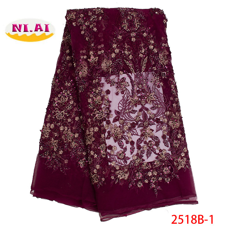 African Beaded Lace Fabric 2019 High Quality Handmade Lace Material Nigerian Embroidery French Tulle Lace Fabric