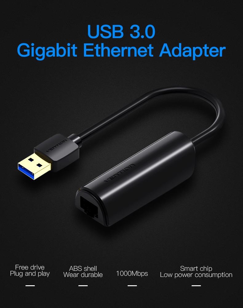 Vention Network Adapter USB 3.0 to Ethernet RJ45 LAN Gigabit Adapter Black