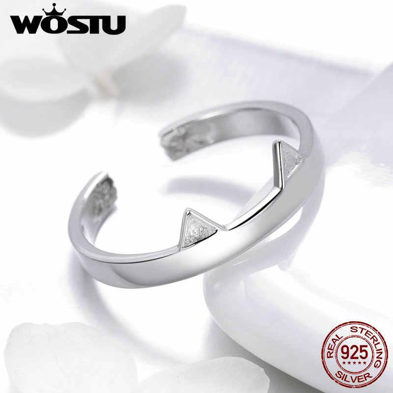 WOSTU ขายร้อน 925 เงินสเตอร์ลิงแหวนเปิด Glitter Cat นิ้วมือเปิดแหวน Fine S925 เงินเครื่องประดับของขวัญ CQR387